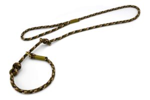 Retrieverleine mit Handschlaufe (ca. 130cm + Halsung) – Softtau, Takelung in Moos