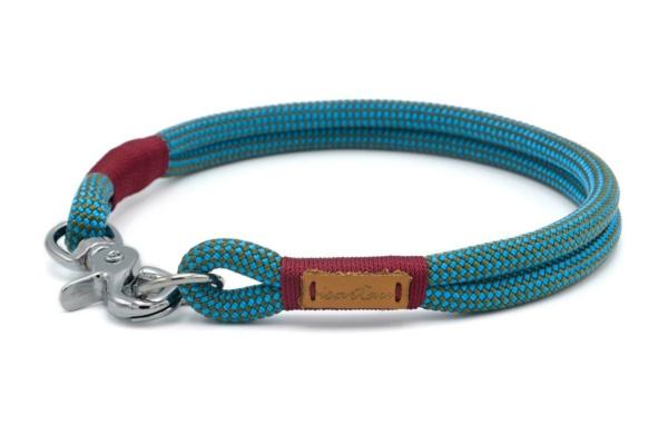 festes Halsband mit Karabinerverschluss, nicht verstellbar - Takel burgunder