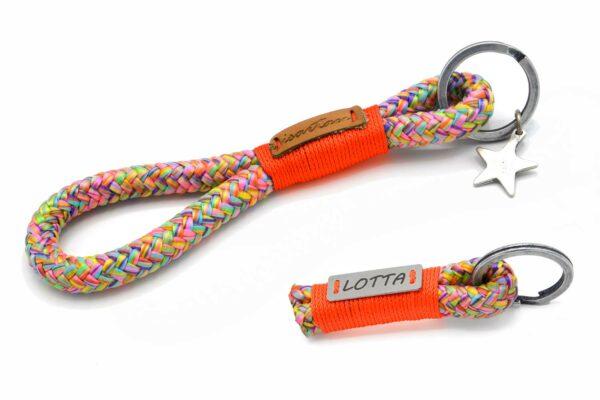 Schlüsselanhänger aus Tau, Takelung in Neon-Orange