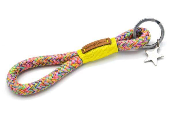 Tau-Schlüsselanhänger MAXI (ca. 15-17 cm lang) mit Takelung in Sonnengelb
