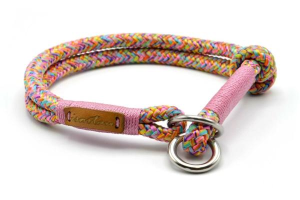 Zugstopp Halsband mit Takelung in Altrosa