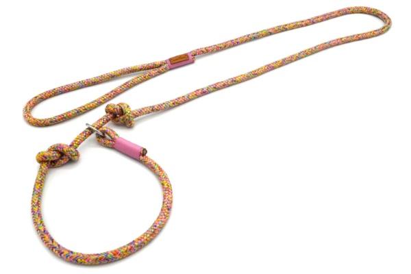 Retrieverleine mit Handschlaufe (ca. 130cm + Halsung) mit Takelung in Altrosa