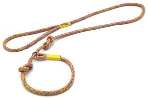 Retrieverleine mit Handschlaufe (ca. 130cm + Halsung) mit Takelung in Sonnengelb
