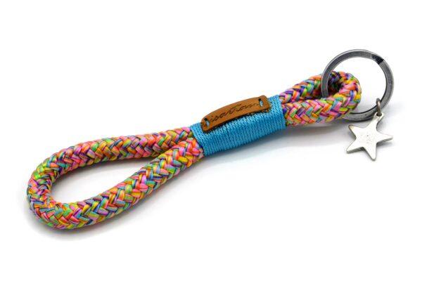 Tau-Schlüsselanhänger MAXI (ca. 15-17 cm lang) mit Takelung in Meerblau