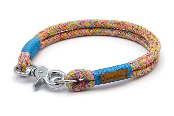 Festes Halsband mit Karabiner mit Takelung in Meerblau
