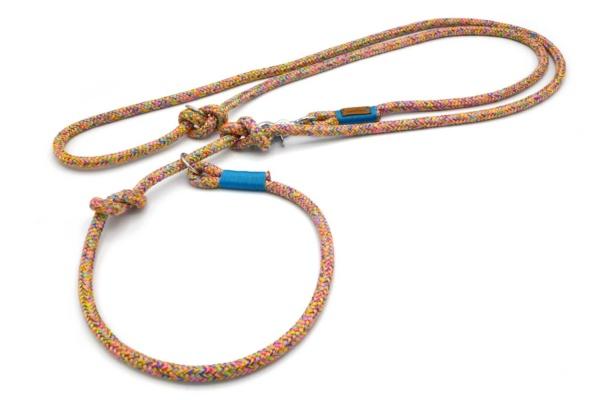 Retrieverleine 2-fach verstellbar (ca. 190cm + Halsung) mit Takelung in Meerblau