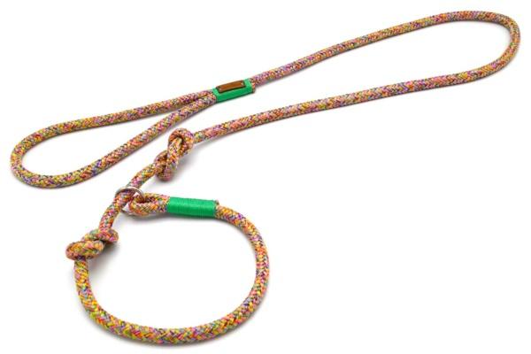 Retrieverleine mit Handschlaufe (ca. 130cm + Halsung) mit Takelung in Mint