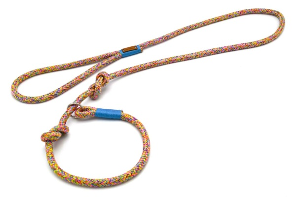 Retrieverleine mit Handschlaufe (ca. 130cm + Halsung) mit Takelung in Meerblau