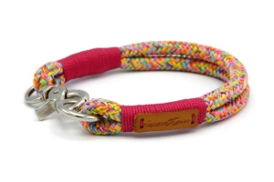 Festes Halsband mit Karabiner mit Takelung in Fuchsia, Seilstärke 10mm