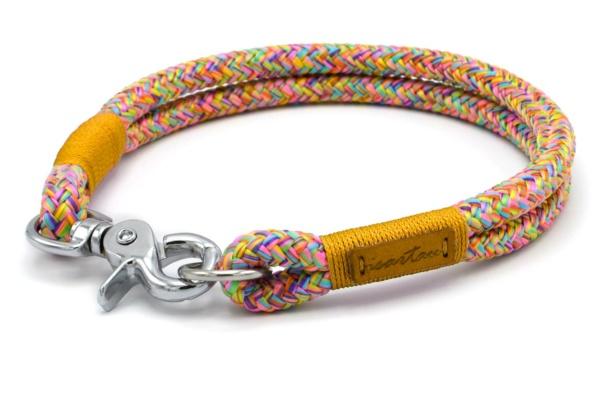 Festes Halsband mit Karabiner mit Takelung in Goldgelb