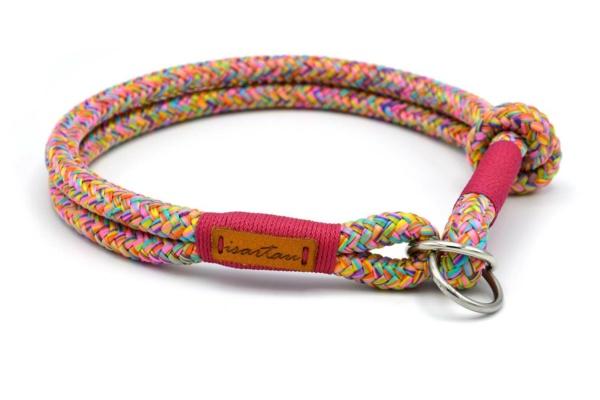 Zugstopp Halsband mit Takelung in Fuchsia