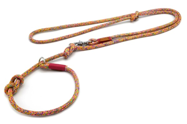 Retrieverleine 2-fach verstellbar (ca. 190cm + Halsung) mit Takelung in Fuchsia