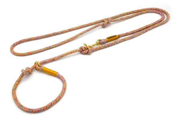Retrieverleine 2-fach verstellbar (ca. 190cm oder Halsung) mit Takelung in Goldgelb