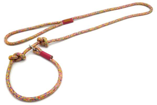 Retrieverleine mit Handschlaufe (ca. 130cm + Halsung) mit Takelung in Fuchsia