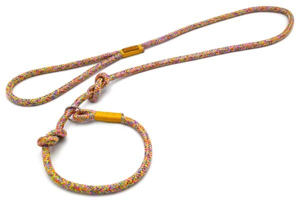Retrieverleine mit Handschlaufe (ca. 130cm oder Halsung) mit Takelung in Goldgelb