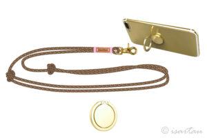 Handykette mit Karabiner in gold - Takel altrosa