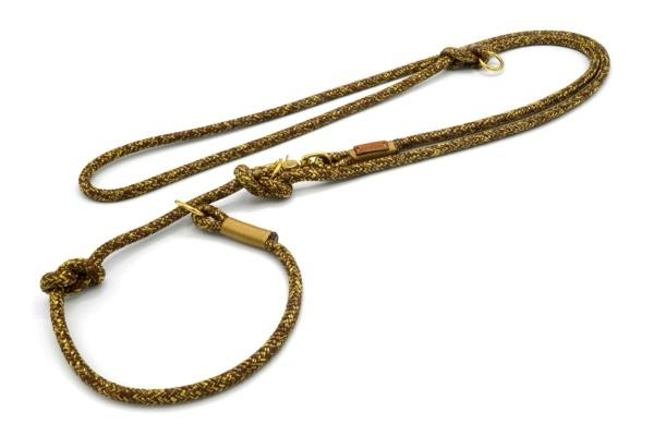 Retrieverleine 2-fach verstellbar (ca. 190cm + Halsung) mit Takelung in Gold