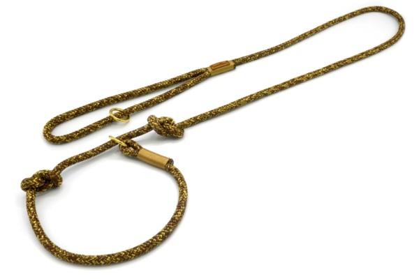 Retrieverleine mit Handschlaufe (ca. 130cm + Halsung) mit Takelung in Gold
