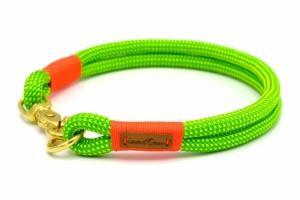 Festes Halsband mit Karabiner mit Takelung in Neon-Orange