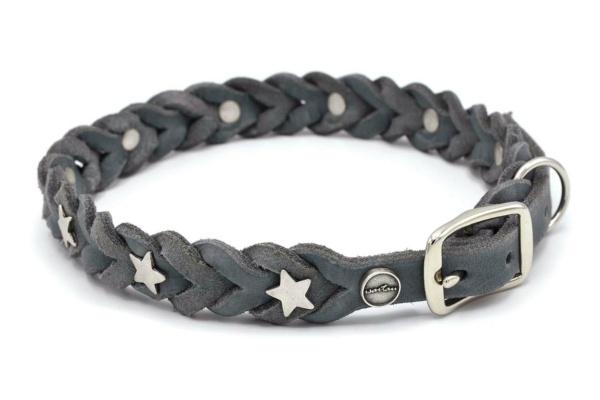 Lederhalsband Tender OPULENT in grau mit silberfarbenen Stern Schmucknieten