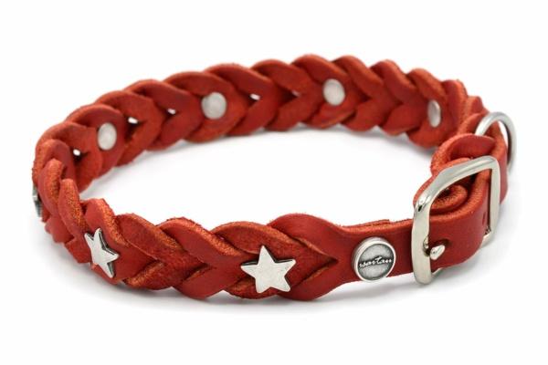 Lederhalsband Tender OPULENT in rot mit silberfarbenen Stern Schmucknieten