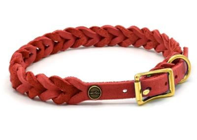 Lederhalsband Tender PURE in Rot, in 8 Größen, Verstellbar