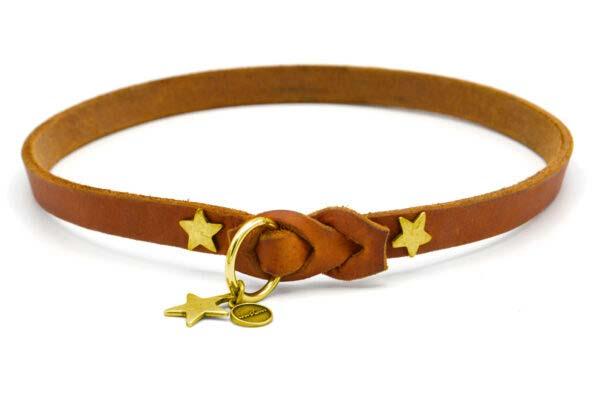Lederschlupfi DECENT,cognac, gold, Sterne, Anhänger Stern