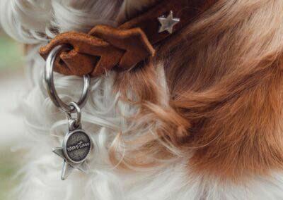Lederschlupfi DECENT, cognac, silber, Sterne, Anhänger Stern