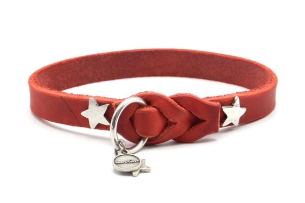 rotes Lederschlupfi 15 mm mit versilberten Sternen