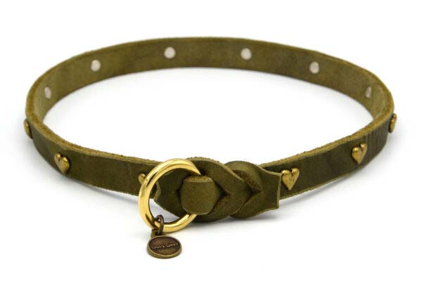 Lederschlupfi OPULENT, olivgrün, gold, Herzen