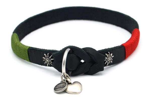 Lederschlupfi SPORTY, schwarz, Beschläge Silber, Edelweiss, Takelfarbe feuerrot & grasgrün