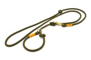 Retrieverleine 2-fach verstellbar (ca. 190cm + Halsung) - Softtau