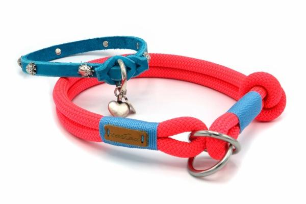Zugstopp Halsband aus Tau mit Knoten-Stopp und Lederschlupfi Türkis