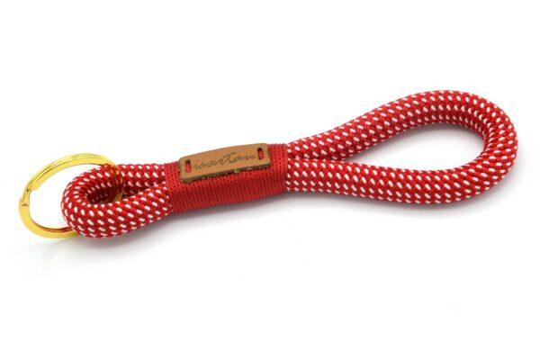Tau-Schlüsselanhänger MAXI (ca. 15-17 cm lang) mit Takelung in Feuerrot