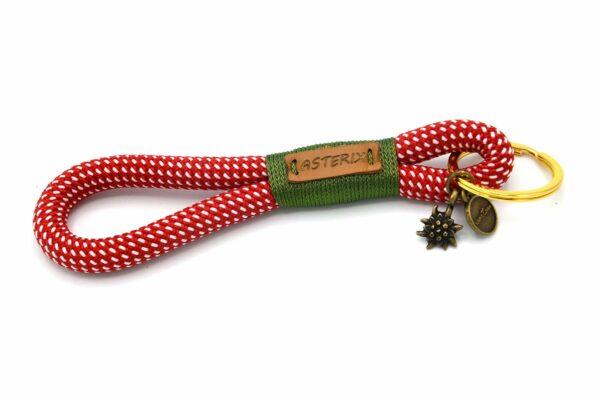 """Tau-Schlüsselanhänger MAXI (ca. 15-17 cm lang) mit Takelung in Grasgrün und extra Anhänger """"Edelweiss"""""""