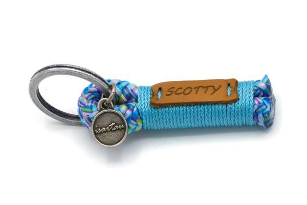 Tau-Schlüsselanhänger SHORTY (ca. 5-6 cm lang) mit Takel Meerblau