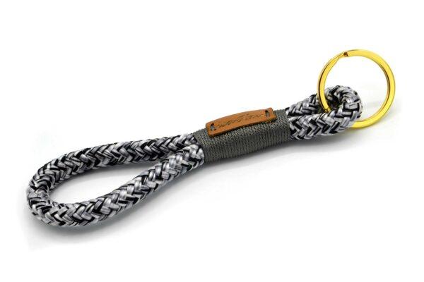 Tau-Schlüsselanhänger MAXI (ca. 15-17 cm lang) mit Takelung in Dunkelgrau