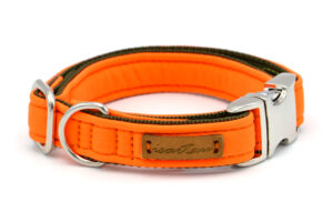 Welpenhalsband Orange/Olivgrün mit Steckverschluss Chrom